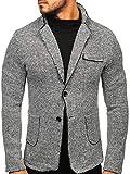 BOLF Hombre Americana Slim Fit Traje Blazer Elegante Estilo Formal RENUAR 6647 Gris S [4D4]