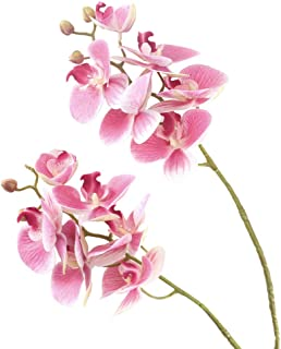 HUAESIN Artificial Orchid Flowers Stem Silk Phalaenopsis Orchid Branches Real Touch for Home Vase Wedding Party Centerpiece Candles Arrangements Decoration 2pcs Purple