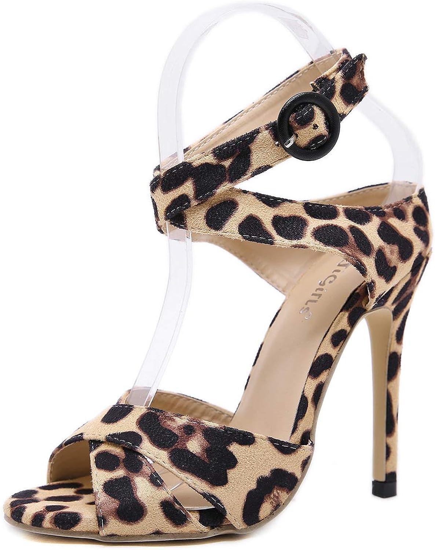 Women Leopard Printed Cross Strap Stiletto High Heels Sandals Ladies Peep Toe Cross Belt shoes Casual Dress Single shoes