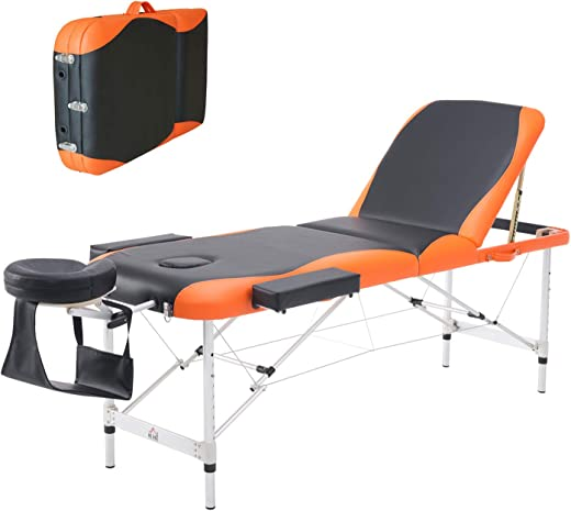 Homcom Deluxe Massage Table Bed Couch Beauty Bed 3 Section Aluminum Therapy Bed Spa Bed Lightweight Portable Folding Black & Orange by HOMCOM