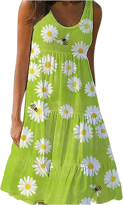 EZ Tuxedo Women's Short Flowy Pleated Dress Sleeveless Floral Print O Neck Loose Fit Ruffle Mini Dress