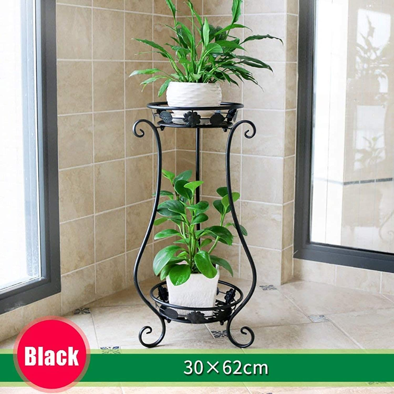 BXJ Home Gardening Multilayer Wrought Iron Plant Stand,Planter Rack (color   Black, Size   30×62cm)