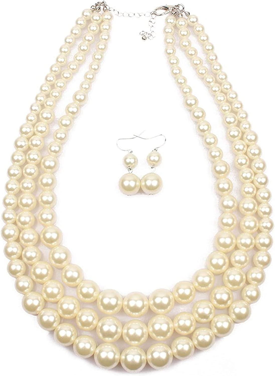 Women's Simulated Pearl Resin Three Multi-Strand Statement Necklace and Earrings Set