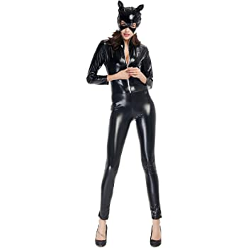 Qincos Disfraz de Gato para Mujer Mono de Cuero Catsuit con ...
