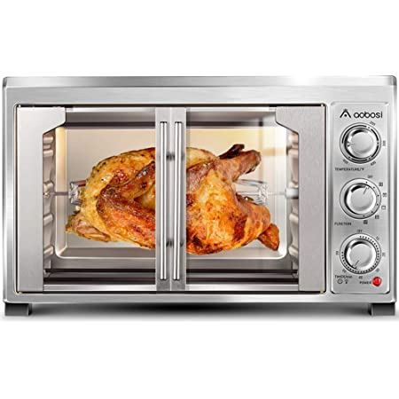 """Toaster Convection Oven Countertop Aobosi Convection Toaster Oven Electric Rotisserie Oven Pizza Oven French Single Door Pull Bake/Toast/Roast/Heat 47QT/45L Extra Large 1500W Stainless Steel 28X20X20"""""""