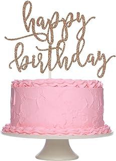 Rose Gold Glittery علامت تولدت مبارک کیک شیرینی برای تزیین جشن تولد ، لوازم تزیین کیک
