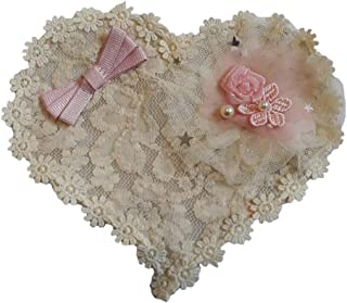 Heart Lace Fabric Applique Flowers Pearls Cute Patch sew on (3)