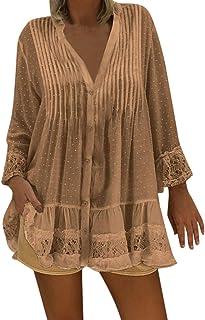 DATEWORK Women V Neck Caftan Boho Beach Cover Plus Size Ladies Vintage Hippie Baggy Bloue