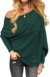 Women's Off Shoulder Knit Jumper Long Sleeve Pullover Baggy Solid Sweater