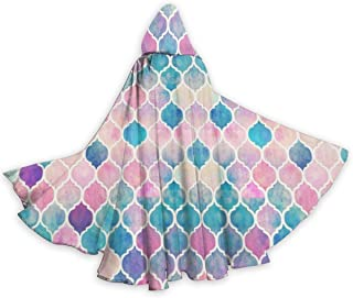 Rainbow Pastel Watercolor Moroccan Pattern Cloak Soft Hooded Cape Durable Robe for Halloween Christmas Costumes