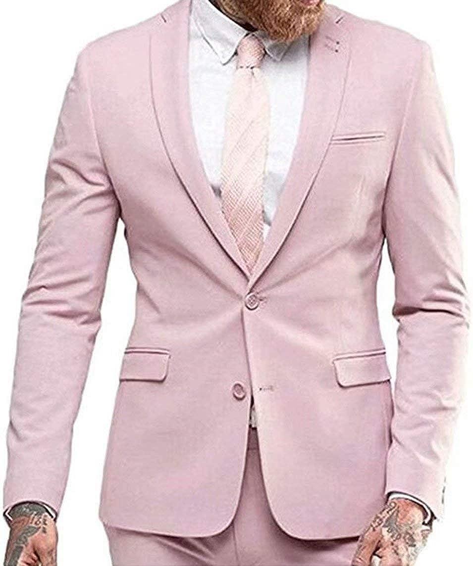RONGKIM Men's Formal Pink 2 Pieces Suits Men Groom Tuxedos for Wedding