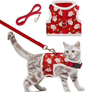 PUPTECK Christmas Cat Harness with Leash Set - Adjustable Escape Proof Holiday Walking Jacket for Kittens, Puppies