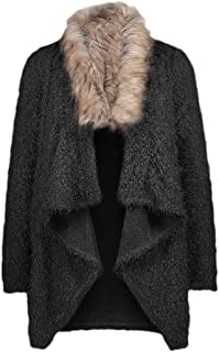Women's Casual Irregular Open Front Coat Plush Faux Fur Collar Cardigans