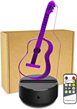 JCMKJ 3D LED Guitar Night Light, Creative Guitar Inspiration 7 Colors Optical Illusion Lamp Perfect for Home Party Festival Decor Great Gift Idea (Guitar) (Colorful)