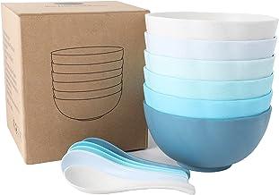 Cereal Bowl Microwavable Plastic Bowls Unbreakable Wheat Straw Dinnerware 12pcs Sets - 6 Bowls&6 Spoons Coastal Colors Des...