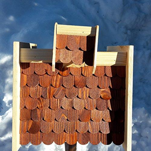 Vogelhaus-XL Braun- Vogelhäuser-Vogelfutterhaus Vogelhäuschen-aus Holz Wetterschutz Putzklappe - 2