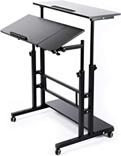 Zytty Portable Standing Desk, Small Standing Desk with Wheels Standing Laptop Desk Mobile Standing Desk for Home Office Ad...