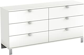 South Shore Spark Collection 6-Drawer Double Dresser, Pure White with Satin Nickel Handles