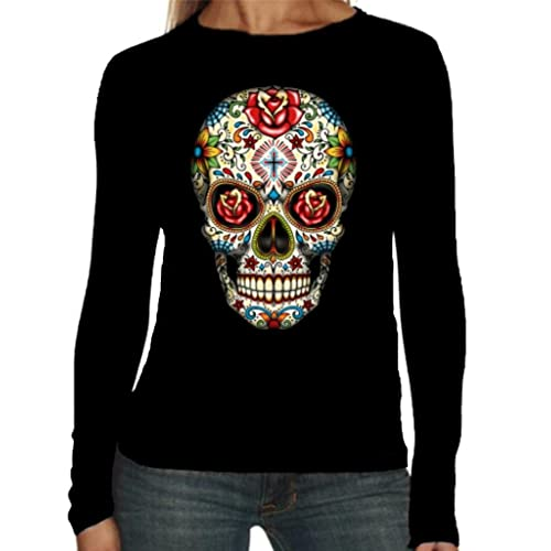 7aa64b2b9 Velocitee Ladies Long Sleeve T-Shirt Sugar Tattoo Skull W16553