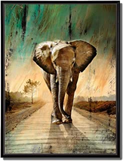 Animal Painting – African Wall Art Elephants Waking Down Green Grassland Road..