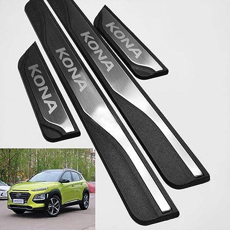 Hjhnb 4 Stücke Auto Einstiegsleisten Für Hyundai Kona 2017 2019 2020 Trim Scuff Pedal Schwellenabdeckung Schutz Trim Zubehör Edelstahl Auto