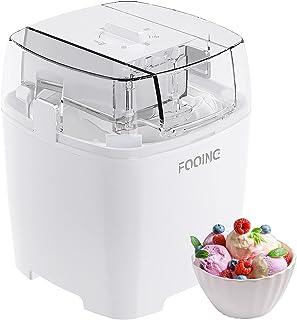 Machine à Glace 1.5L avec Bouton de Commutateur Rotatif (5 à 30 minutes), Machine à Crème Glacée à La Maison en Acier Inox...