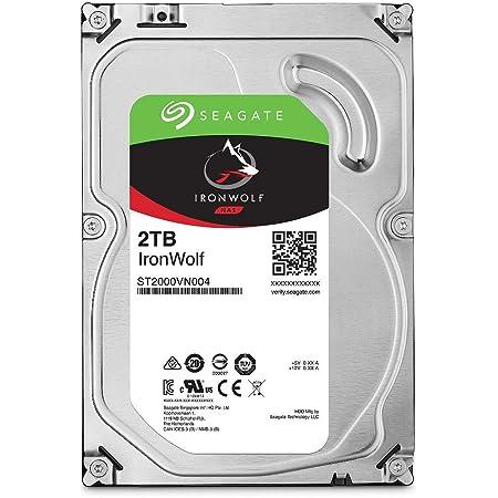 "Seagate IronWolf 3.5"" データ復旧3年付 2TB 内蔵HDD(CMR) 3年保証 6Gb/s 64MB 5900rpm 24時間稼動 PC NAS向け ST2000VN004"