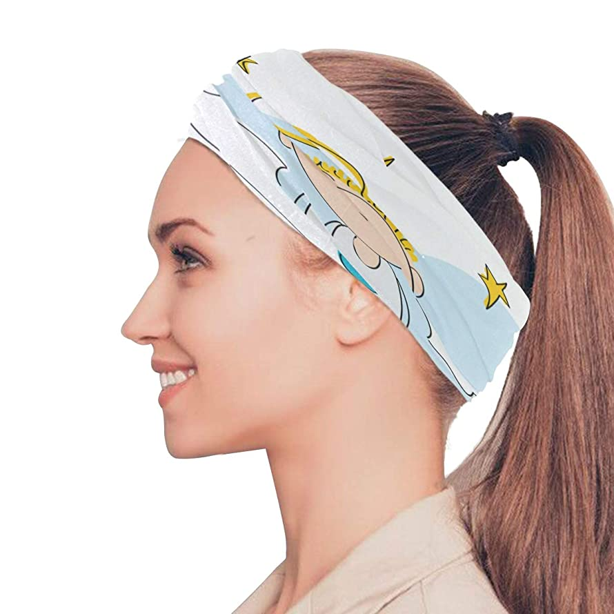 Danexwi Flying Angel Cartoon Fairy Swing Elastic Headbands Head Wrap Shawl Sports Sweatband Face Mask Magic Scarf Hair Accessories Bands Ties for Women Men Girls Running Workout Fitness Yoga