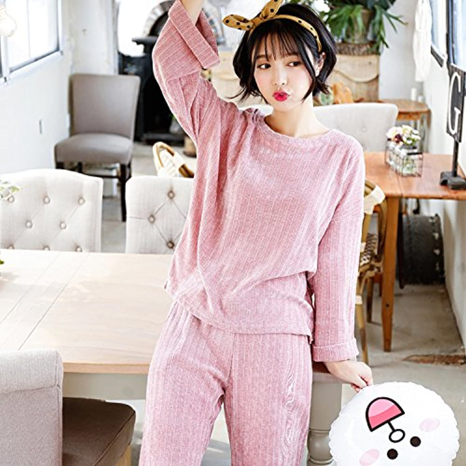 PLLP Autumn and Winter LongSleeved Pants AntiPajamas Simple Ladies Solid color Thick Thin Home Service Suits