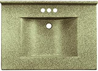 Imperial VW2522CAPSS Center Wave Bowl Bathroom Vanity Top, 25-Inch Wide by 22-Inch Deep, Cappuccino Matte Finish