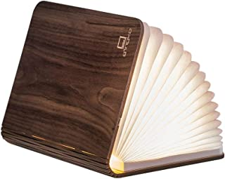 Gingko LED Mini Smart Book Desk Light with Natural Wood Effect Finish, Rechargeable with Micro USB Charger, Walnut
