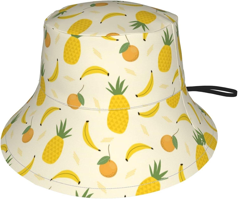 Jeezshop Bucket Hat with Tropical specialty Import shop Fruit Banana Orange Pineapple