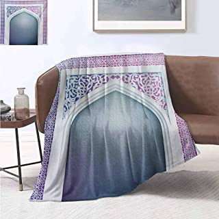 jecycleus Moroccan Commercial Grade Printed Blanket Old Fashion Ottoman Arch Door Surrounded by Digital Featured Sacred Geometry Motif Queen King W91 by L60 Inch Mauve Grey