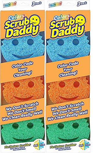 Scrub Daddy Colors Sponge Set - FlexTexture Sponge, Soft in Warm Water, Firm in Cold, Deep Cleaning, Dishwasher Safe, Multi-use, Scratch Free, Odor Resistant, Functional, Ergonomic, 2 pk, 6pc