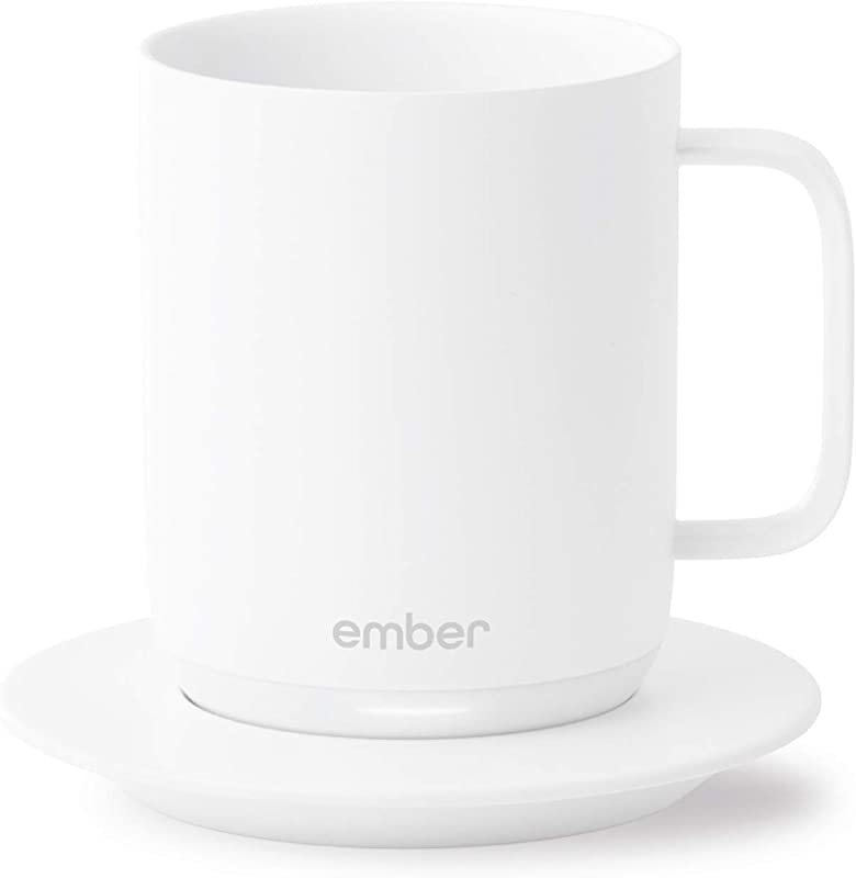 Ember Temperature Control Smart Mug 10 Ounce 1 Hr Battery Life White App Controlled Heated Coffee Mug