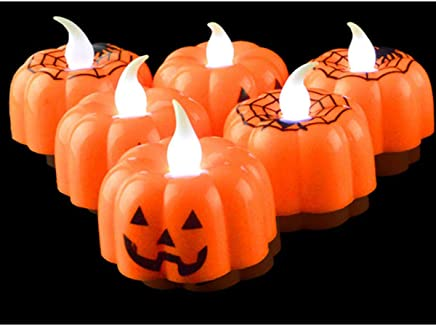 TOYANDONA 10個LEDハロウィンパンプキンライト電気現実的なキャンドルフレームレスバッテリー駆動パーティー屋外屋内装飾(5個パンプキン+ 5個スパイダーパターン)