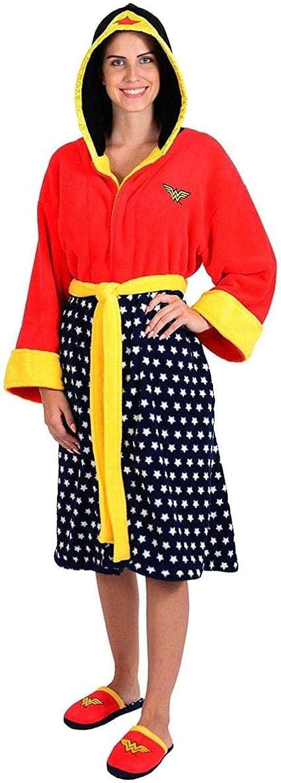 promocionales de incentivo Wonder Woman Hooded Fleece Robe and Slipper Slipper Slipper Set Standard  envío rápido en todo el mundo