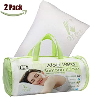 Homelux Comfortable Hypoallergenic Aloe Vera Bamboo Pillow with Memory Foam, Queen Size - Set of 2!