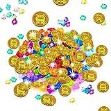 Monedas de oro, piratas de oro para niños, piedras preciosas piratas, tesoro pirata, cajas del cofre del tesoro pirata, fiesta pirata, obsequio, búsqueda del tesoro para niños