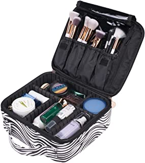 OXYTRA Makeup Bag Zebra Print PU Leather Travel Cosmetic Bag for Women Girls - Cute Large Makeup Case Cosmetic Train Case Organizer with Adjustable Dividers for Cosmetics Make Up Tools (Zebra Print)