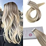 Moresoo 20' Hair Extensions Tape in Human Hair Remy Hair Extensions Tape in Color #18 Fading to #22 and #60 Blonde Seamless Tape in Hair Extensions 20PC/50G