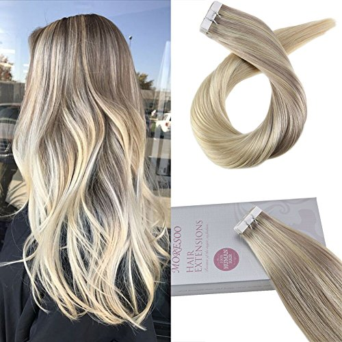 "Moresoo 20"" Hair Extensions Tape in Human Hair Remy Hair Extensions Tape in Color #18 Fading to #22 and #60 Blonde Seamless Tape in Hair Extensions 20PC/50G"