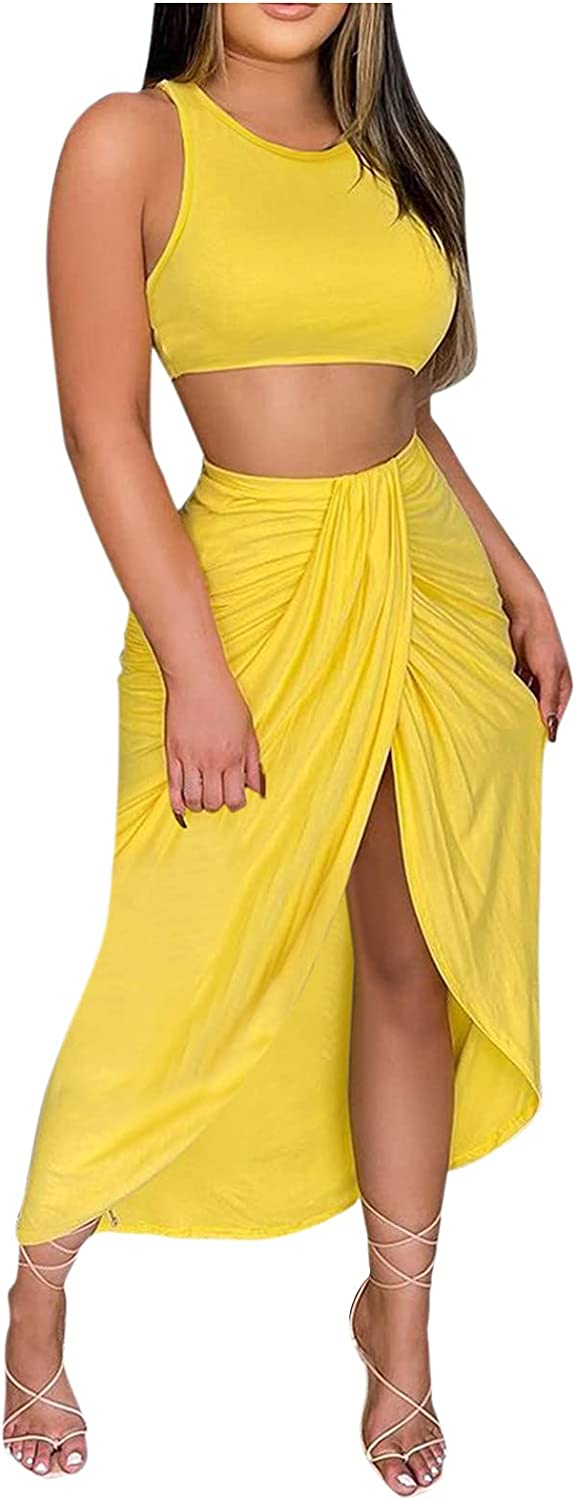 DZQUY Women's Floral 2 Piece Outfit Summer Crop Top and Maxi Skirt Set Casual Sexy Party Beach Dress Swimwear Outfit