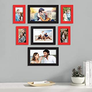 Painting Mantra Glass Art Street Pyramid Individual Wall Photo Frame (Red and Black) - Set of 7