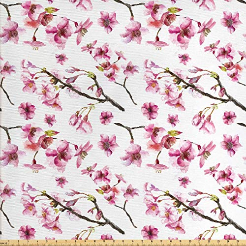 Ambesonne Cherry Blossom Fabric by The Yard, Watercolor Style Oriental Pattern with Sakura Branch, Decorative Fabric for Upholstery and Home Accents, 1 Yard, Green Brown