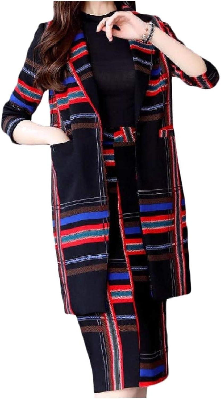 Mfasica Women Notch Lapel Curvy Pockets Plaid Classy Blazer Suit Dress Sets