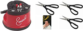 Emeril Knife Sharpener with Suction Mount, Red, BONUS 3 Pack of Kitchen Scissors Stainless Steel Blades, Black