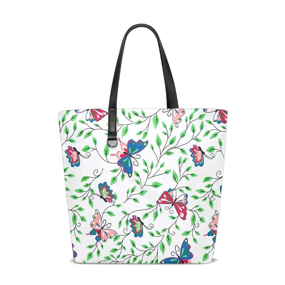支配的不合格マッシュトートバッグ かばん ポリエステル+レザー 青蝶柄 緑葉 両面使える 大容量 通勤通学 メンズ レディース