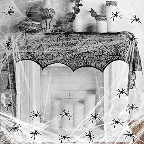 KAKOO 32tlg Grusel Deko Set Schwarz Spitze Spinnennetz Kamin Tür Dekostoff mit 60g Spinnweben und 30 Spinnen Horror für Karneval Fasching Halloween Party Dekoration von Tisch, Haus und Garten