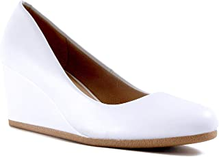 bd8a7c012ff6 Guilty Shoes Guilty Heart | Classic Office Comfortable Wedge | Soft Mid Low  Heel Round Toe